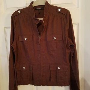 Daisy Fuentes Moda Linen Zipper Jacket Brown
